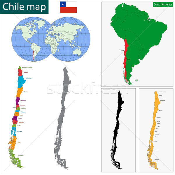 Chile térkép köztársaság régiók színes fényes Stock fotó © Volina