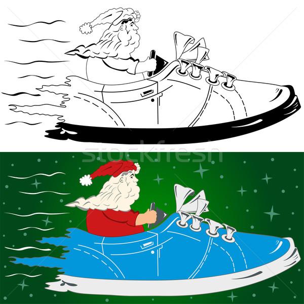 Noel baba yol dizayn kar arka plan siyah Stok fotoğraf © Volina