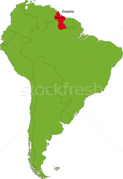 Guyana térkép helyszín dél-amerika földrész terv Stock fotó © Volina