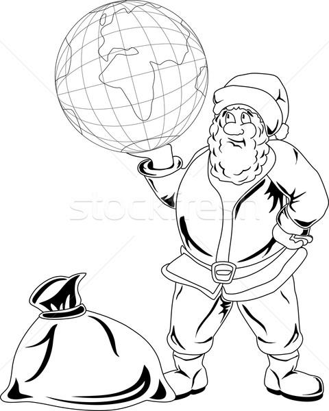 Papai noel globo sorridente feliz mundo Foto stock © Volina
