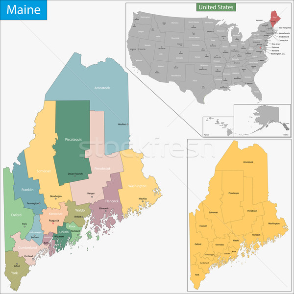 Maine map Stock photo © Volina