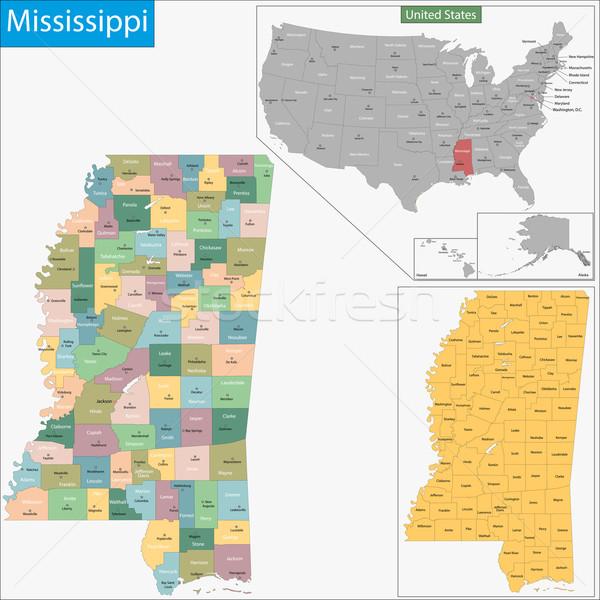 Mississipi harita örnek ABD Washington Amerika Birleşik Devletleri Stok fotoğraf © Volina
