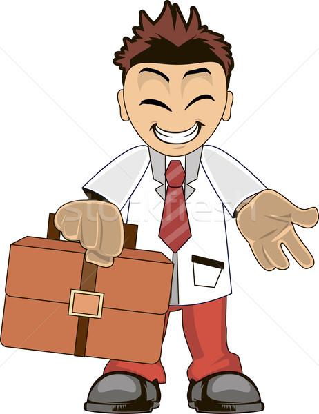 бизнесмен смешные Cartoon иллюстрация улыбаясь деньги Сток-фото © Volina