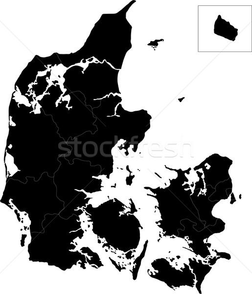 Zwarte Denemarken kaart administratief wereldbol stad Stockfoto © Volina