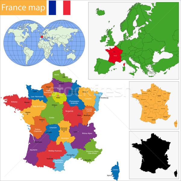Frankreich Karte administrative Stadt Land geschnitten Stock foto © Volina