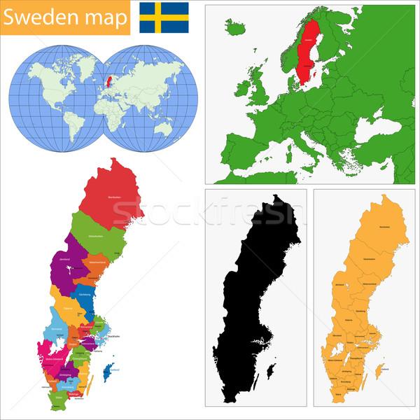 Zweden kaart administratief koninkrijk stad land Stockfoto © Volina