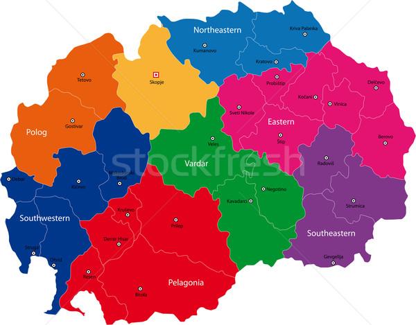 Македонии карта административный республика город силуэта Сток-фото © Volina