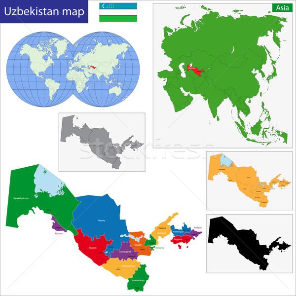 Üzbegisztán térkép adminisztratív város sziluett vidék Stock fotó © Volina