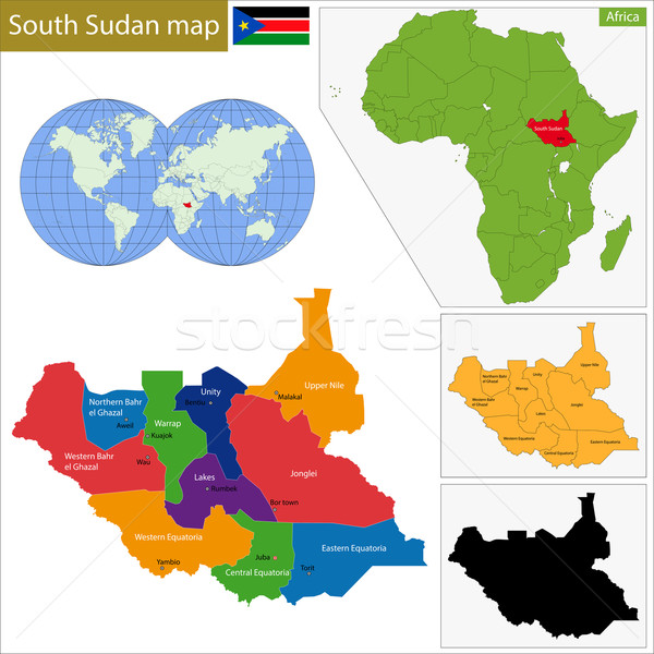 South Sudan map Stock photo © Volina