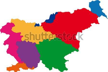 Szlovénia térkép adminisztratív köztársaság város vidék Stock fotó © Volina