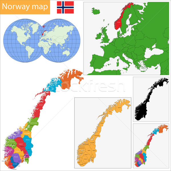 Norway map Stock photo © Volina
