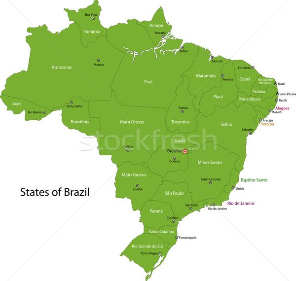 Green Brasilia map Stock photo © Volina