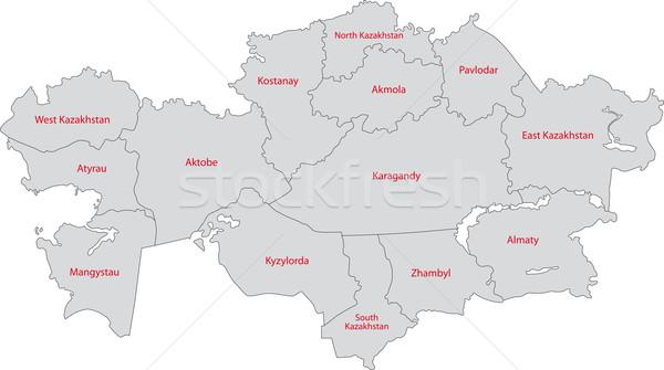 Cinza Cazaquistão mapa administrativo cidade asiático Foto stock © Volina