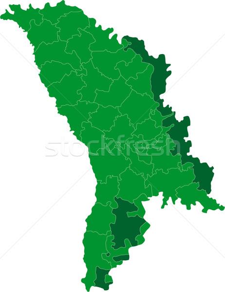 Zöld Moldova térkép adminisztratív köztársaság város Stock fotó © Volina