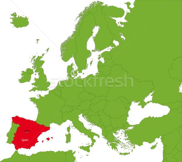 Espanha mapa localização europa continente cidade Foto stock © Volina