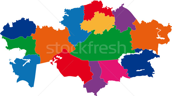 Colorful Kazakhstan map Stock photo © Volina