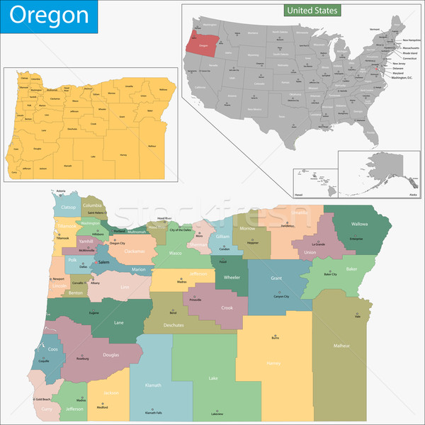 Oregon map Stock photo © Volina