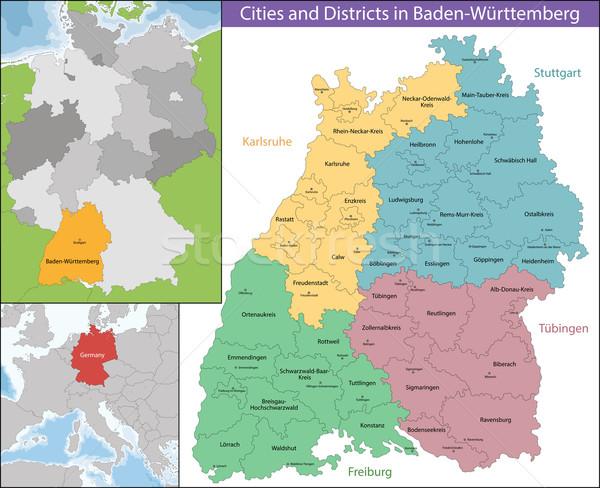 карта Германия юго-запад Европа подробность клен Сток-фото © Volina