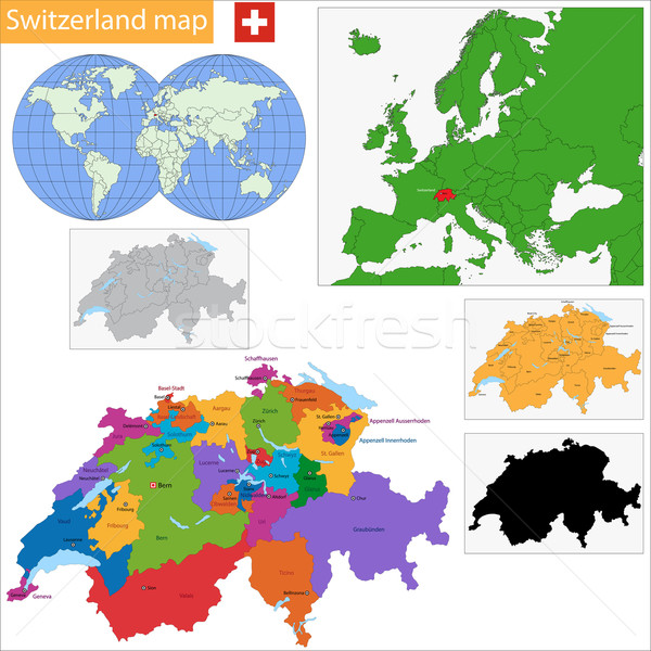 Zwitserland kaart administratief stad land illustratie Stockfoto © Volina