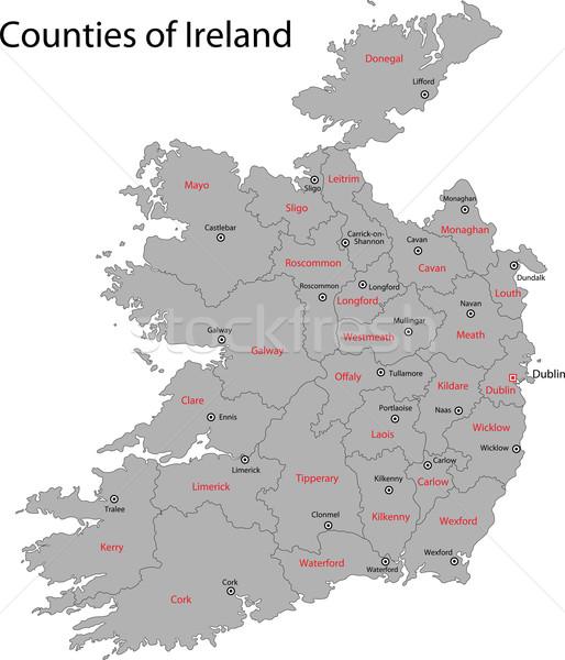 Grey Ireland map Stock photo © Volina