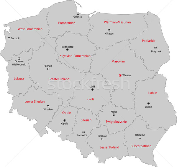 Grey Poland map Stock photo © Volina