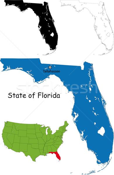 Florida mapa ilustración EUA palma color Foto stock © Volina