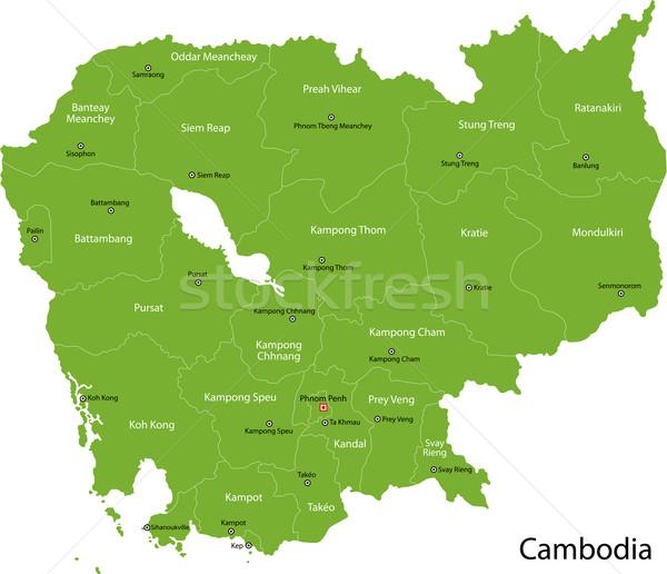 Stock fotó: Zöld · Kambodzsa · térkép · fővárosok · terv · szín