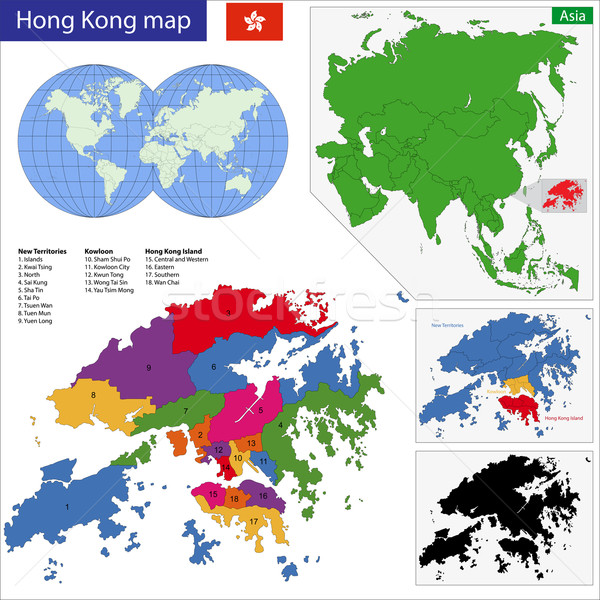 Hong Kong mapa vector especial administrativo región Foto stock © Volina