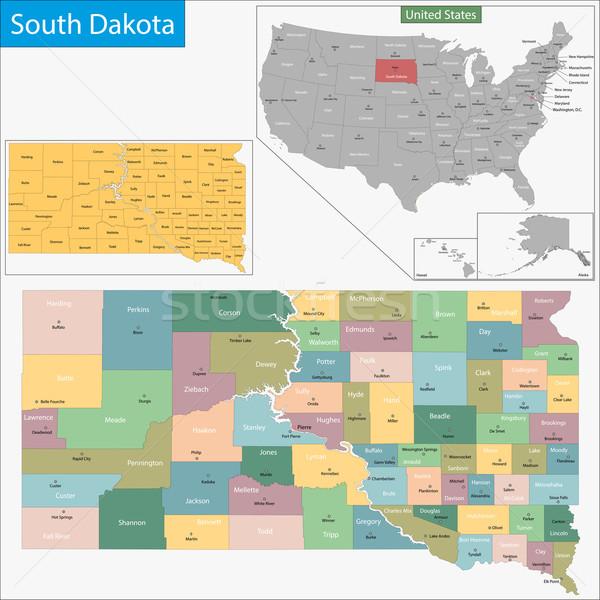 Dél-Dakota térkép illusztráció USA Washington Egyesült Államok Stock fotó © Volina
