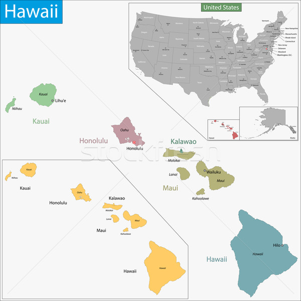 Hawaii map Stock photo © Volina