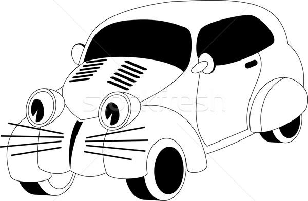 Cartoon автомобилей черно белые иллюстрация лице счастливым Сток-фото © Volina