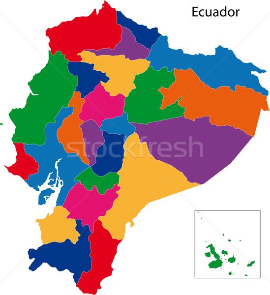 Colorato Ecuador mappa repubblica regioni colorato Foto d'archivio © Volina
