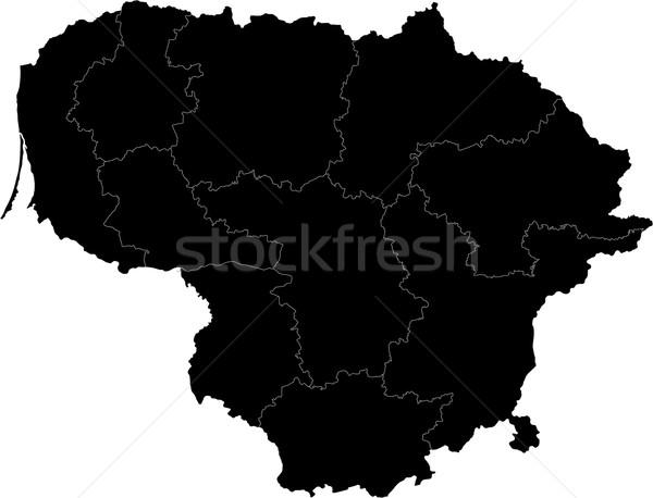Black Lithuania map Stock photo © Volina