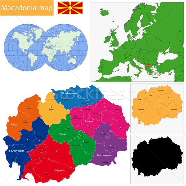 Mazedonien Karte administrative Republik Stadt Silhouette Stock foto © Volina