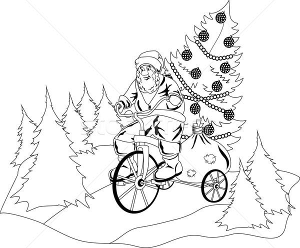 Papai noel saltar fora bolo feliz natal Foto stock © Volina