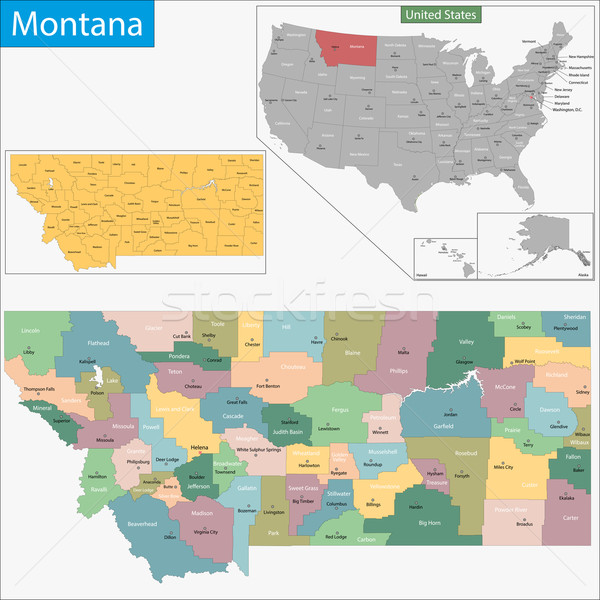 Montana map Stock photo © Volina