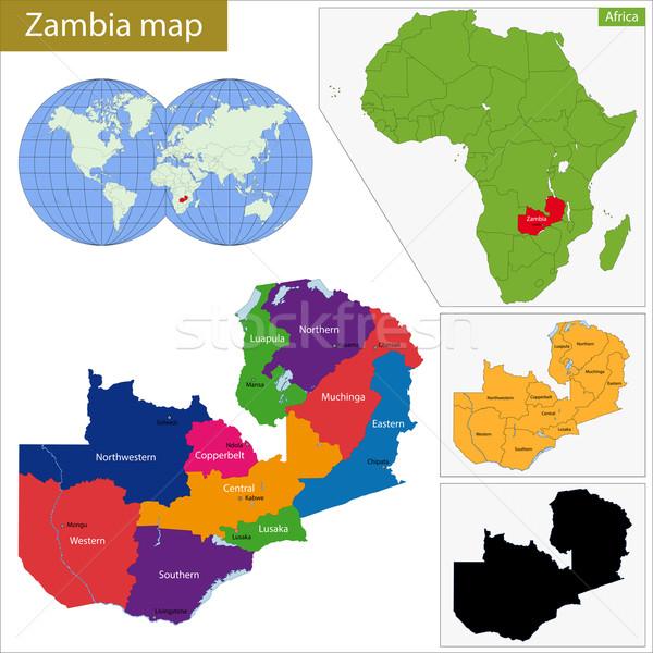 Замбия карта административный республика стране африканских Сток-фото © Volina