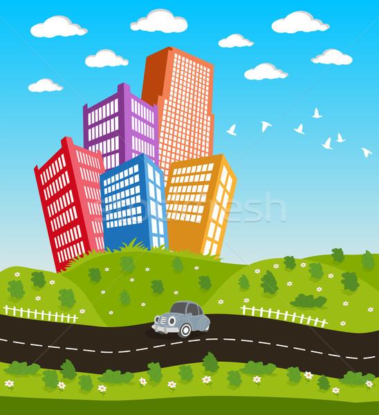 Cartoon downtown road landscape Stock photo © Volina