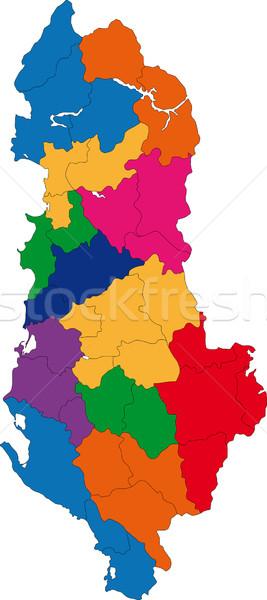 Colorido Albânia mapa administrativo república cidade Foto stock © Volina