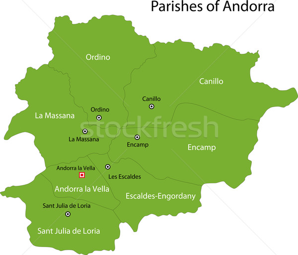 Verde Andorra mappa amministrativa città colore Foto d'archivio © Volina
