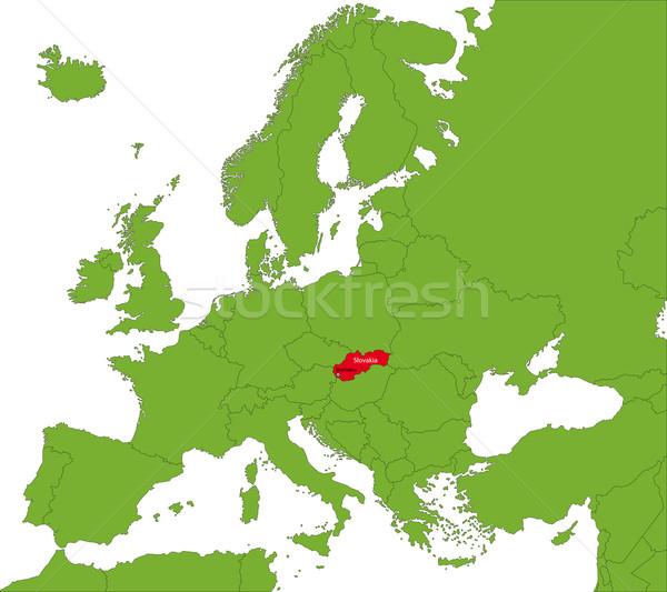Eslováquia mapa localização europa continente cidade Foto stock © Volina