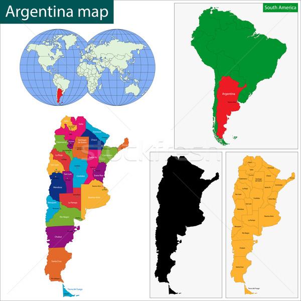 Argentína térkép adminisztratív technológia háttér utazás Stock fotó © Volina