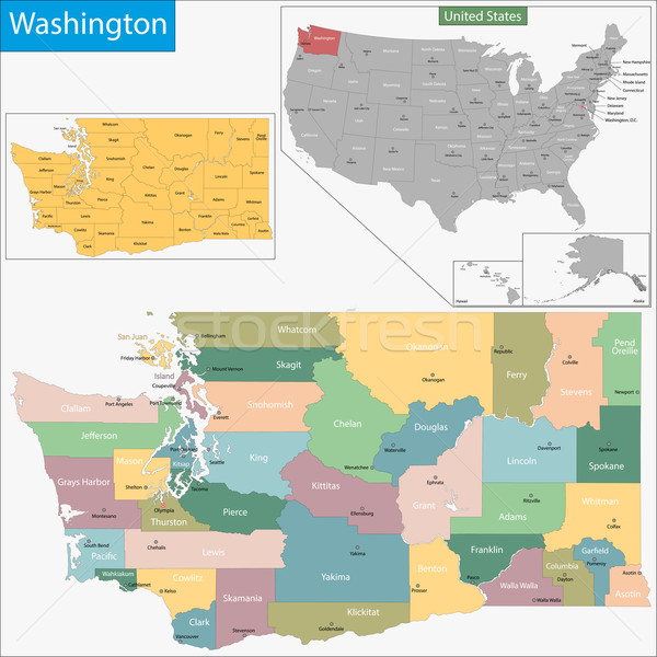 Washington map Stock photo © Volina
