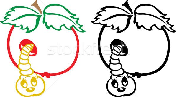 Maçã verme preto e branco desenho animado ilustração comida Foto stock © Volina
