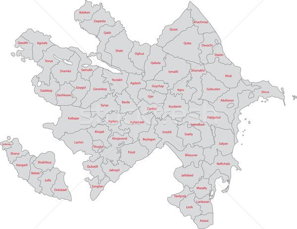 Szürke Azerbajdzsán térkép adminisztratív háttér ázsiai Stock fotó © Volina