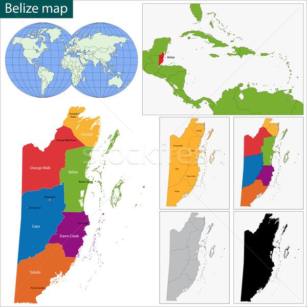 ベリーズ 地図 地域 明るい 色 ストックフォト © Volina