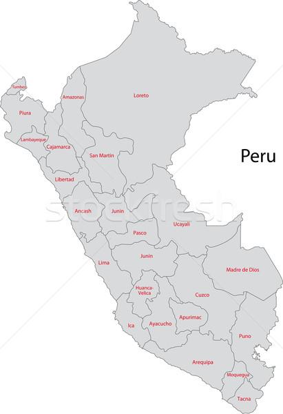 Szürke Peru térkép adminisztratív város szín Stock fotó © Volina