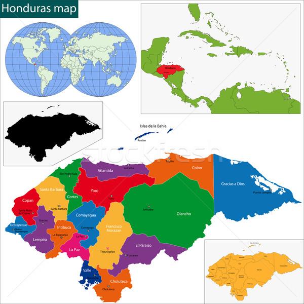 Honduras mapa república cidade cor traçar Foto stock © Volina