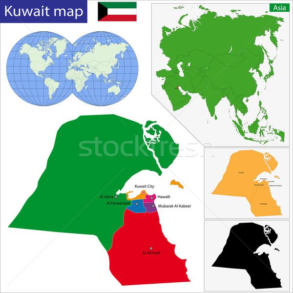 Kuwait mappa amministrativa design colore bianco Foto d'archivio © Volina