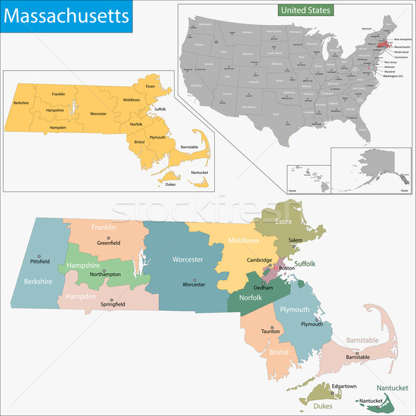 Massachusetts mappa illustrazione USA Boston Washington Foto d'archivio © Volina